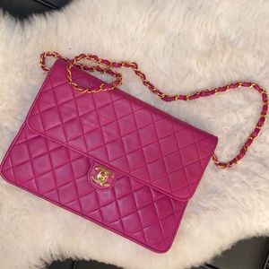 Authentic CHANEL Hot Pink Fuchsia Flap Bag